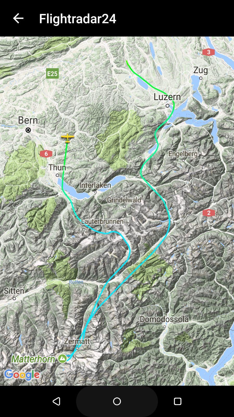 Flightradar Track Matterhorn